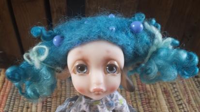 """5"""" Blue Wool felted wig"""