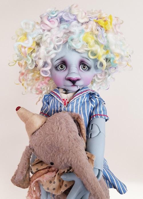 "Pastel Angora 9"" ooak wig"