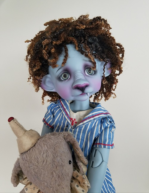 "9"" Tiny Wool ringlet ooak wig"