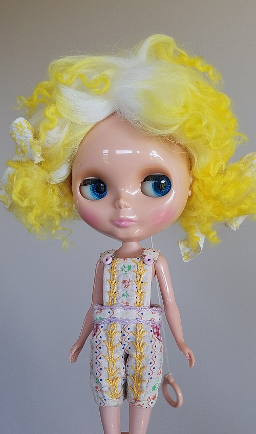 OOAK canary yellow ponytail wig