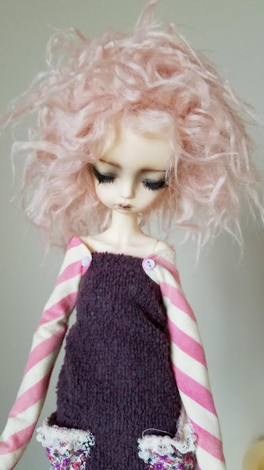 """8"""" Bubble gum pink FAUX mohair wig"""