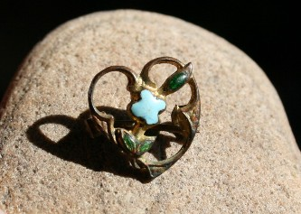 Victorian enameled heart pin