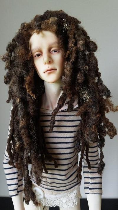 "7.5""-8"" Dread locked natural wool wig"