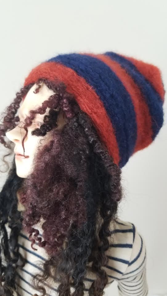 Wool stripe slouch hat