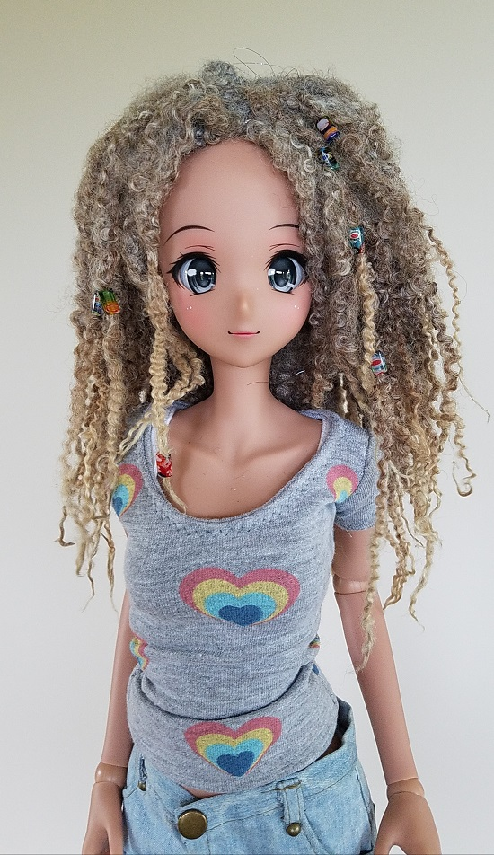 "9"" light grey/tan dread locked wig"