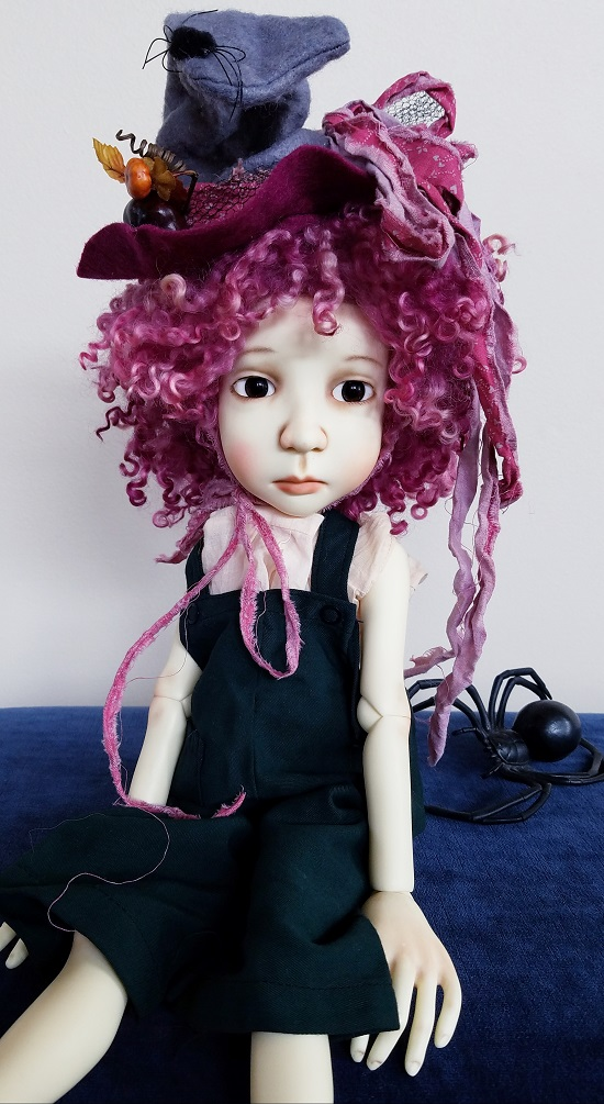 """12"""" OOAK Berry wool wig and Fall hat"""
