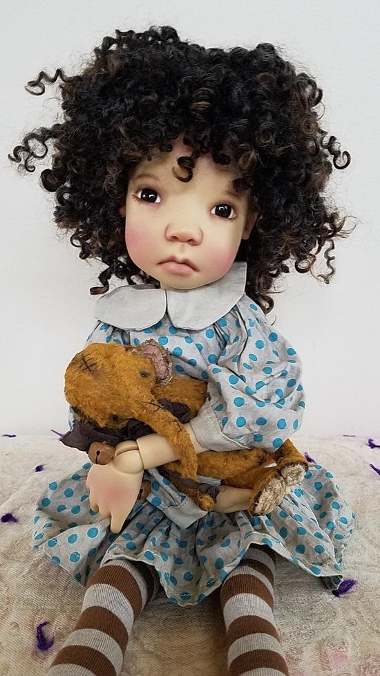 "12"" Dark Brown Loppy Locks wig"